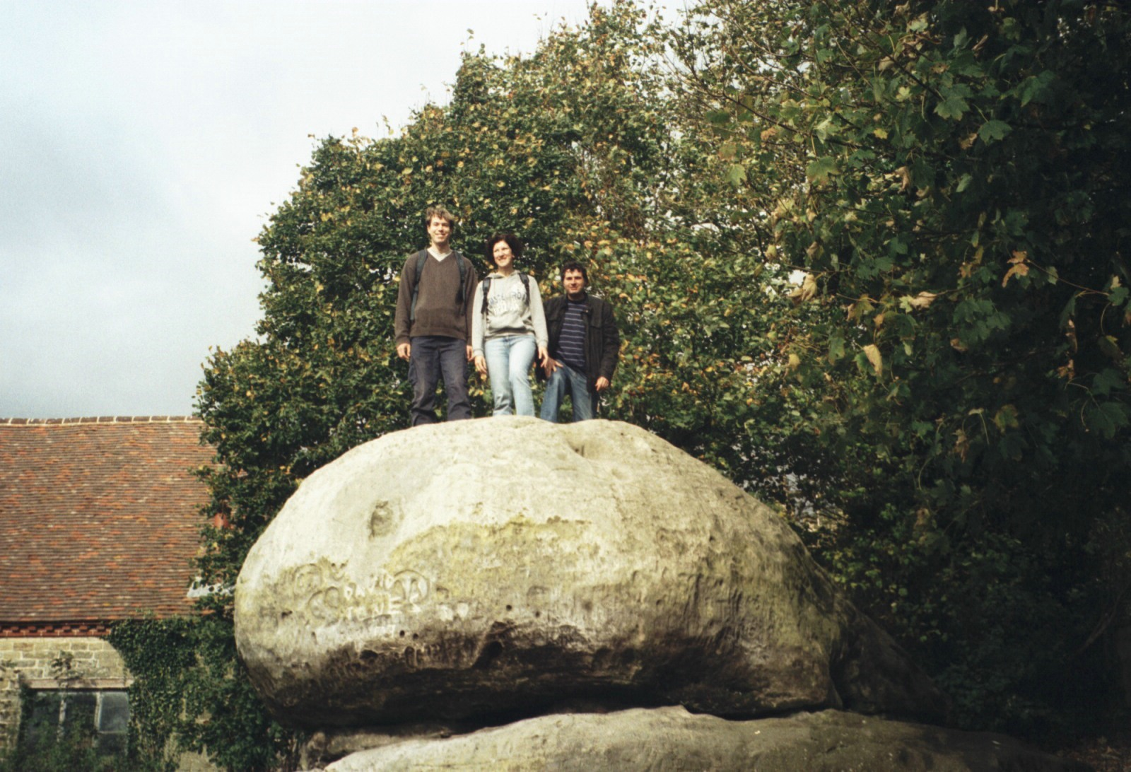 Walk around Chiddingstone, Kent in autumn 2008. Paul, Mary and Rob standing on the ancient Chiding Stone.